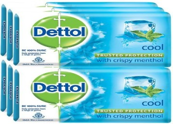 Dettol Bathing Bar Soap, Cool (1000 g, Pack of 8) at Rs.300
