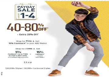 Ajio Payday Sale 1 to 4 Aug 2019 - Up to 80% off + 20% off