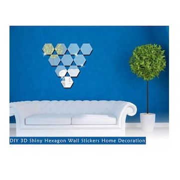 3D Shiny Hexagon Wall Stickers & Get Rs.28 Cashback