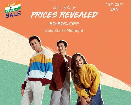 Myntra Right to Fashion Sale: Flat 50-80% + 15% OFF Instant Discount