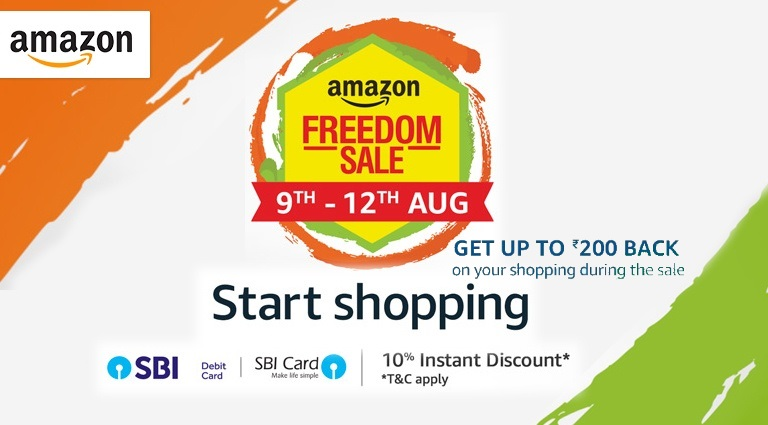Amazon Upcoming Freedom Sale - Get Upto Rs. 200 Cashback