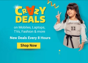 Flipkart Crazy Deal : Upto 90% off on Mobiles, Laptop & more