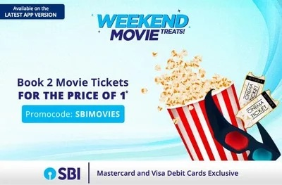 SBI Card offer : 50% off Up to 200 on Movie Tickets @ paytm